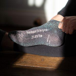 Chaussettes basses paillettes grises semi Marathon
