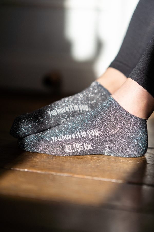 modèle de socquettes marathon gris paillettes