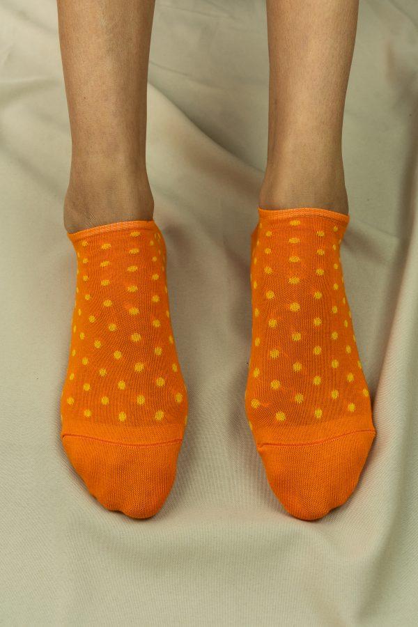 socquettes oranges pois