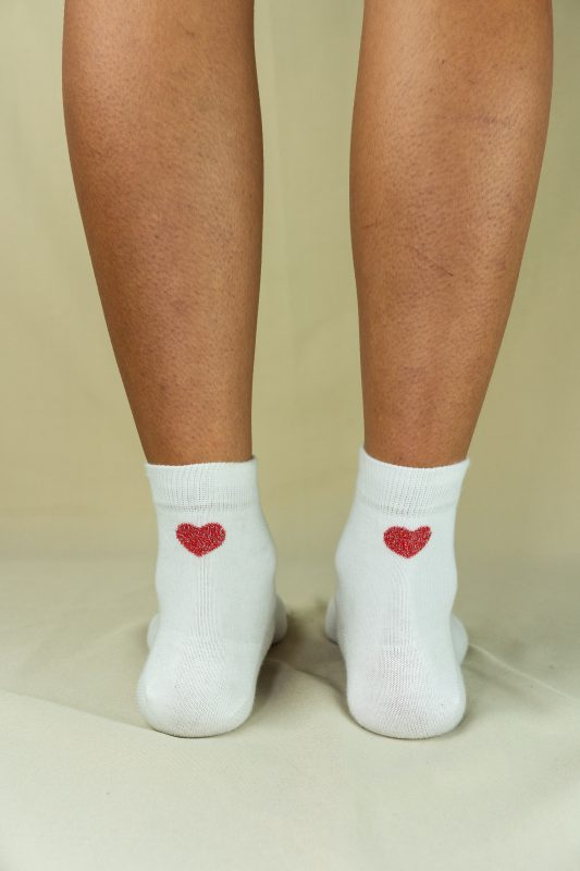 Arrière chaussettes love blanche