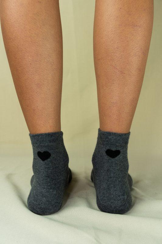 Arrière chaussettes love grises