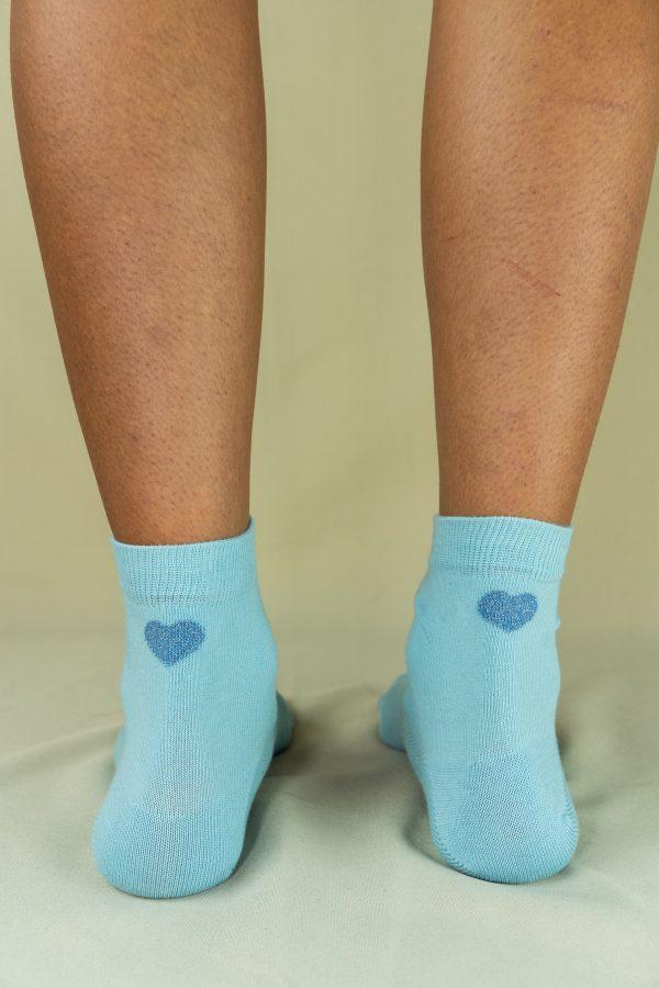 Arrière chaussettes love bleu