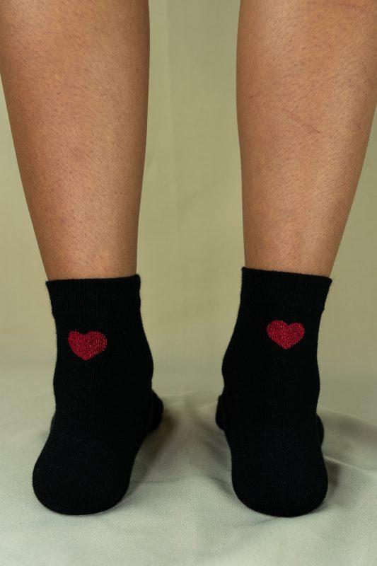 Arrière chaussettes love noir rouge
