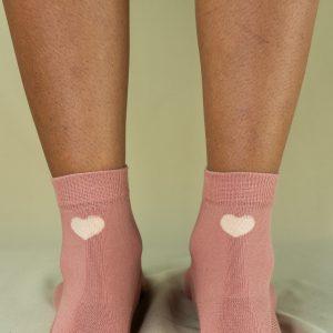 Arrière chaussettes love rose poudré