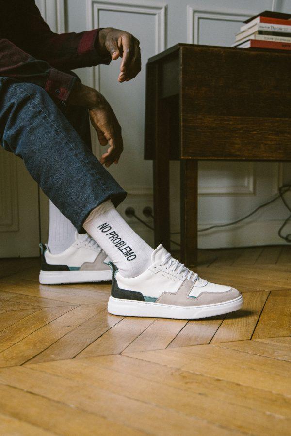 """Chaussettes hautes blanches à message """"no problemo"""" noir"""
